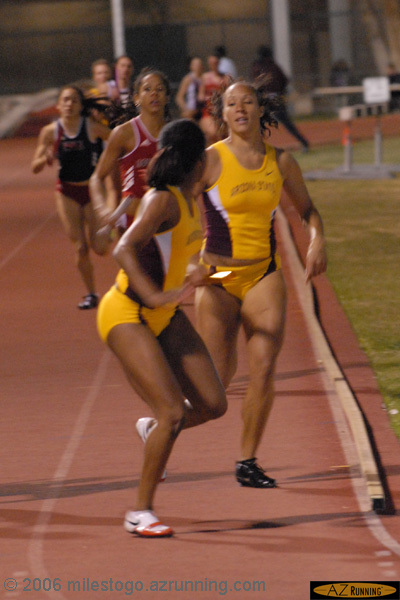 Jacquelyn Johnson, 2006 NCAA Champion in the heptathlon, running a relay leg at the 2006 Baldy Castillo Invitational