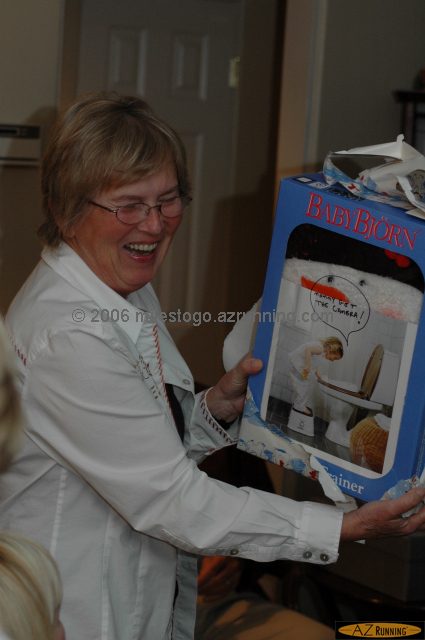 Inge enjoying her white elephant gift...