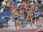 Former ASU Sun Devils Kelly Strong (upper left) and Lisa Galaviz (lower right) advanced from Round 1 of the women's 3000 meter steeplechase