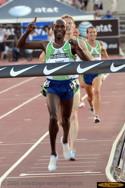 Tucson resident Bernard Lagat wins the 5000 meters
