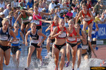 Carrie Messner takes the early lead in the women's 3000 steeplechase final