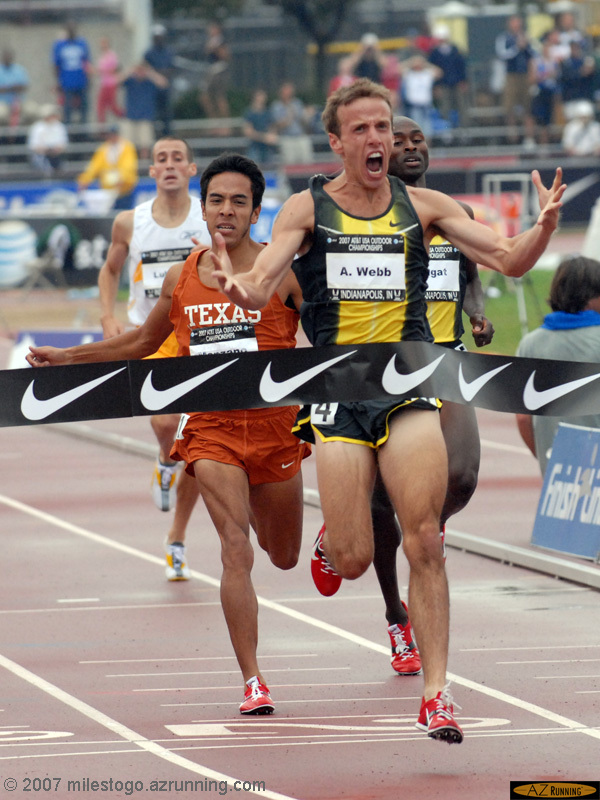 Alan Webb celebrates his victory in the 1,500 meters over Bernard Lagat