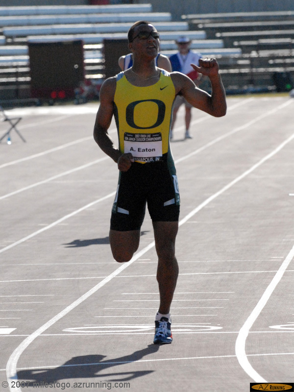 Asthon Eaton leads the junior men's decathlon after the first day's events