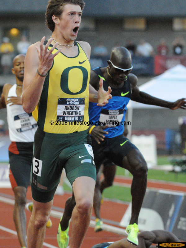 Andrew Wheating and the Oregon sweep of the Men's 800 meters electrified the crowd