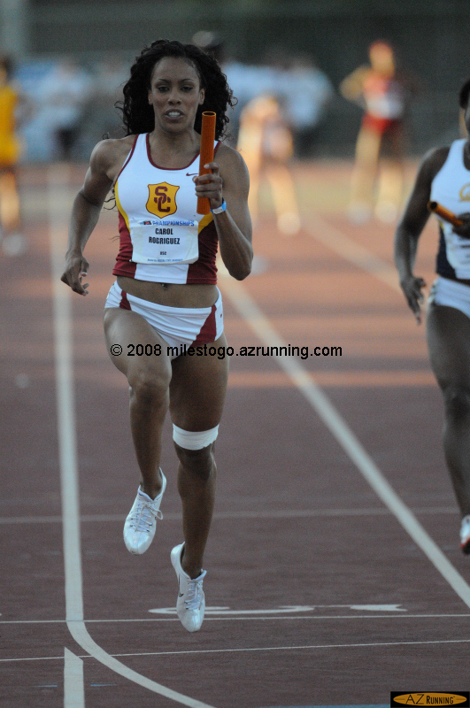 Carol Rodriguez anchored the USC Trojans to 1st place in the 4x100 meter relay