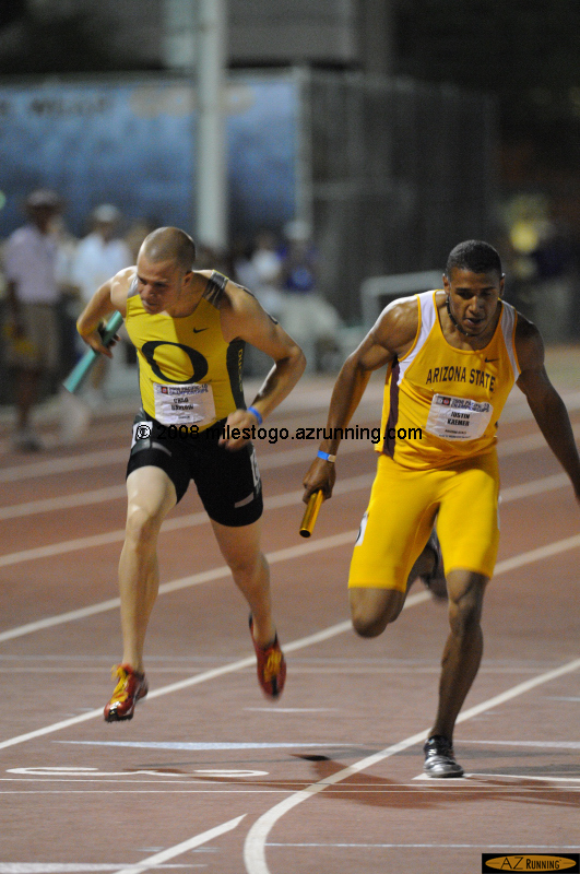 In the final event of the night, Justin Kremer anchored a thrilling victory for the ASU 4x400 meter relay team