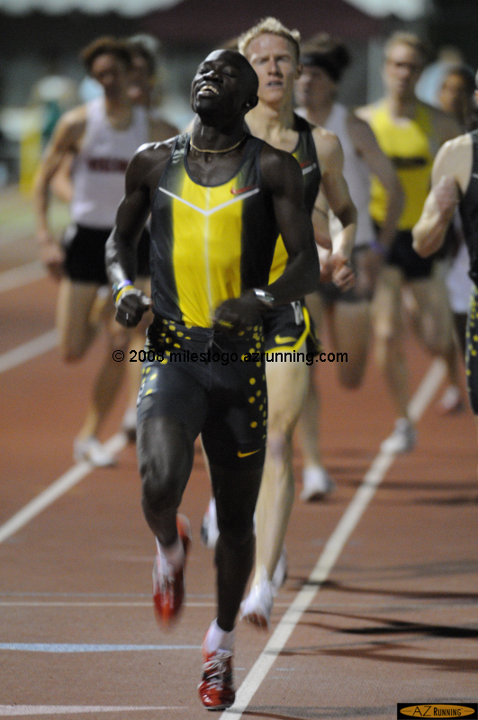 Lopez Lomong won the Men's Invitational 1500 in a meet record 3:39.50