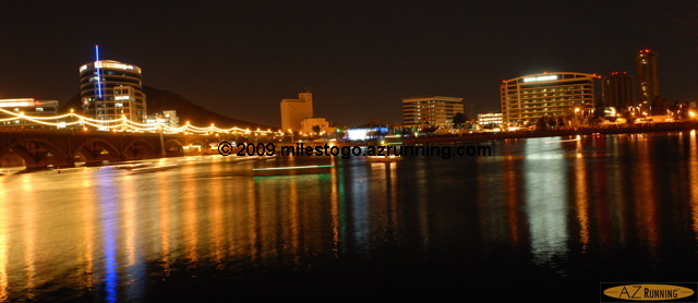 Lights reflecting off Tempe Town Lake