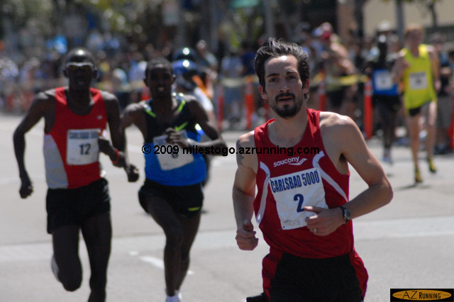 Anthony Famiglietti just missed Marc Davis' 13-year-old U.S. record (13:24) set at Carlsbad, finishing in sixth place overall in 13:28, the #3 U.S. all-time performance on record standard courses.