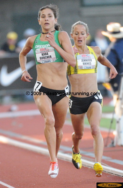 For the second year in a row, Kara Goucher won the national title at 5,000 meters over Jen Rhines