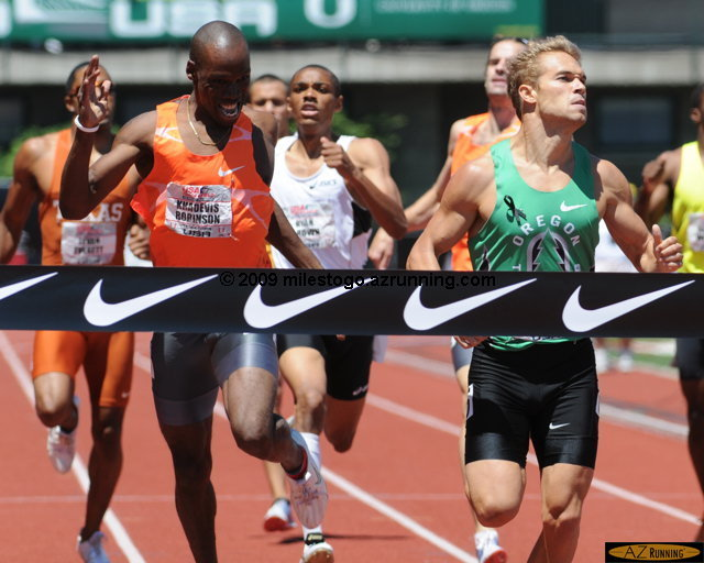For his dramatic win over Khadevis Robinson in the Men's 800 meter run, Nick Symmonds was named Visa Athlete of the Meet