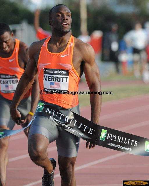 2008 Olympic 400 meter champion LaShawn Merritt was victorious in the adidas Track Classic 200 meters