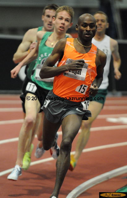 Indoor 5,000 meter American Record holder Bernard Lagat sprinted away from Galen Rupp and Chris Solinsky