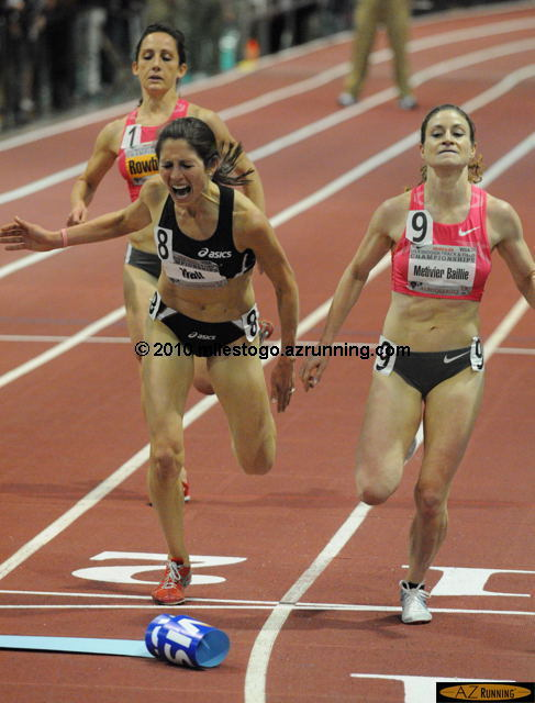 Renee Metivier Baillie held off the hard charging Sara Hall in Day 1's last event, the 3,000 meters.