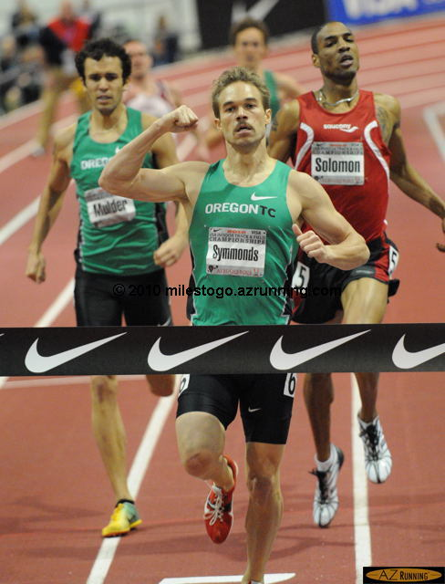 2008 Olympian and 2009 World Outdoor Championships finalist Nick Symmonds won the second USA Indoor title of his career when he finished first in the Nike Men's 800m in 1:48.10.
