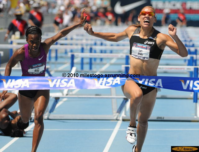 Des Moines native Lolo Jones won the 100 meter hurdles