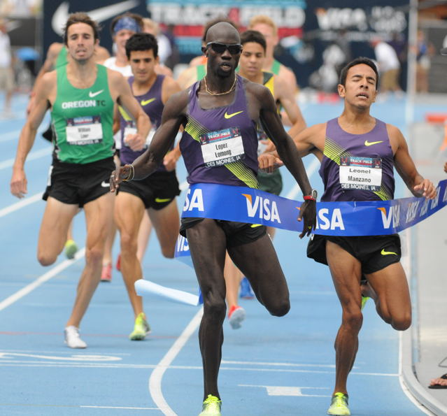 Lopez Lomong held off Leonel Manzano in the Men's 1,500 meters