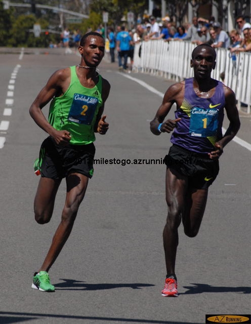 Dejen Gebremeskel from Ethiopia defeated defending Carlsbad 5000 champion Eliud Kichoge of Kenya in the Men's Elite race.