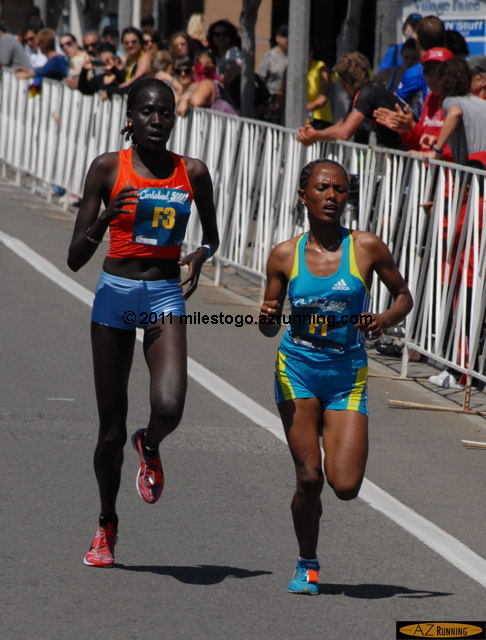 Aheza Kiros from Ethiopia, the 2009 champion, and second last year, held off a spirited challenge from Pauline Korikwiang of Kenya to win her second Carlsbad 5000 title.