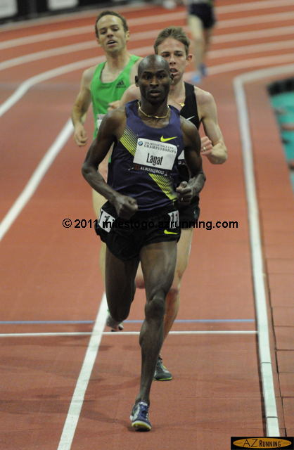 Bernard Lagat sprinted away from Galen Rupp and Aaron Braun to repeat as indoor 3,000 meter national champion