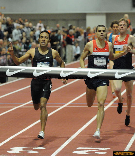 The men's 1,500 meters also featured last lap fireworks. In the final straightaway, Leo Manzano ran down both Matthew Centrowitz, the 2011 World Outdoor 1,500 meter bronze medalist, and Galen Rupp, the 2012 Indoor Visa Series Championship winner for men.