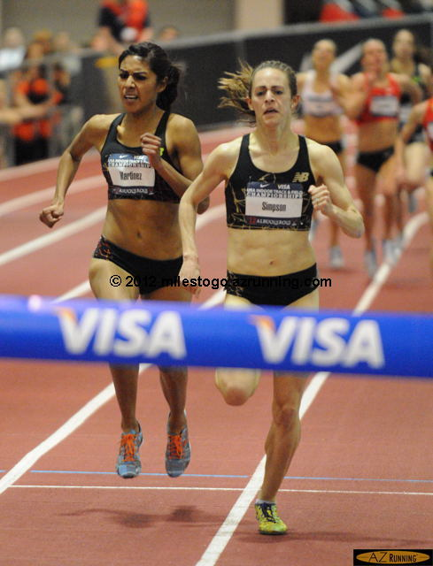 Jenny Simpson, the reigning World Outdoor champion for 1,500 meters, held off a last lap challenge from Brenda Martinez to claim her second USA Indoor title of the weekend.