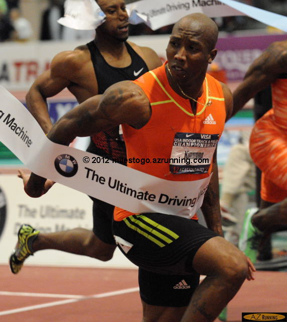 Trell Kimmons won the men's 60 meters in a world-leading time of 6.45 seconds, the third fastest American time ever.