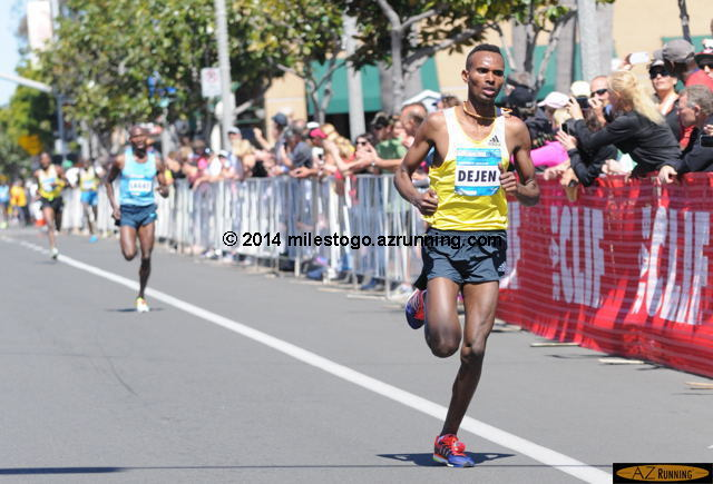 Dejen Gebremeskel, on his way to a fourth consecutive Carlsbad 5000 title