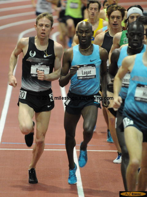 Galen Rupp and Bernard Lagat jockey for position.