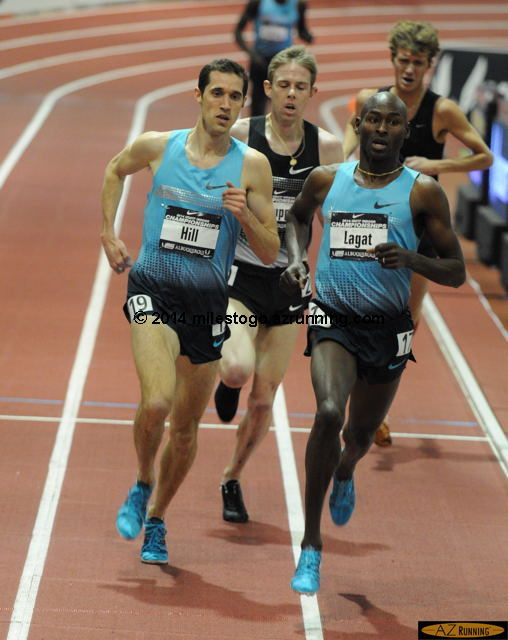 Lagat seized the lead from Ryan Hill with one lap to go.