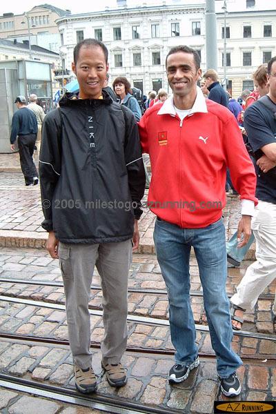 Dave with Jaouad Gharib, World Marathon Champion
